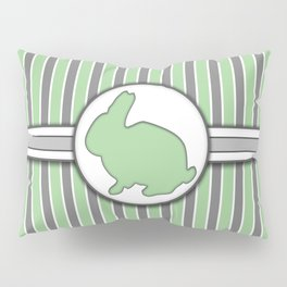 Rabbit on Green Stripes Pattern Design Pillow Sham