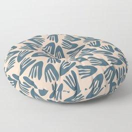 Papier Découpé Modern Abstract Cutout Pattern in Deep Teal and Pale Blush Floor Pillow