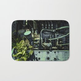 Old Tractor Weed Engine in Blue Bath Mat