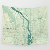 portland Wall Tapestries featuring Portland Map Blue Vintage by City Art Posters