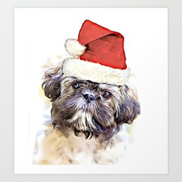 Christmas Shih Tzu puppy Art Print