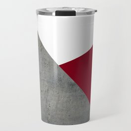 Concrete Burgundy Red White Travel Mug