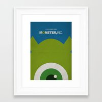 monster inc Framed Art Prints featuring Monster, Inc. - Green (Vintage) by Lemontrend Studio