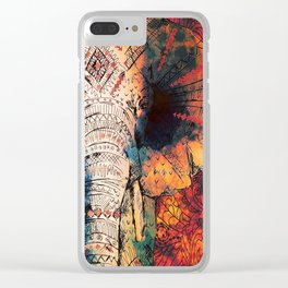 Indian Sketched Elephant Red Orange Clear iPhone Case