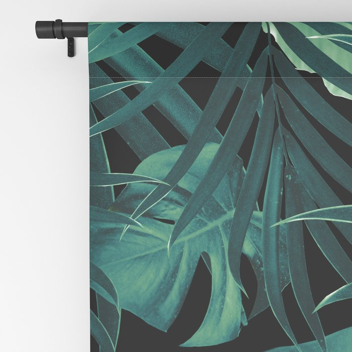 Tropical Jungle Night Leaves Pattern #1 #tropical #decor #art #society6 Blackout Curtain