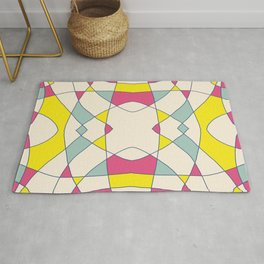 Pink Blue Yellow Abstract Curch Window Rug