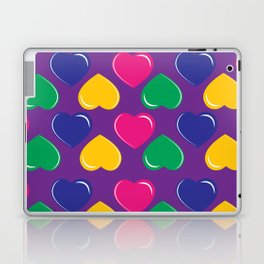 pattern with colorful hearts on purple background Laptop & iPad Skin