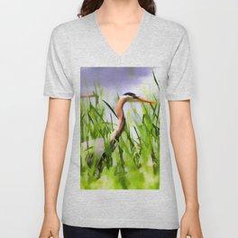 Master of the Marshes  -  Blue Heron Unisex V-Neck