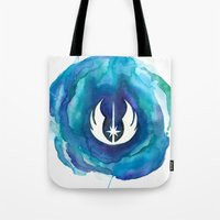 jedi Tote Bags featuring Star Wars Jedi Watercolor by foreverwars