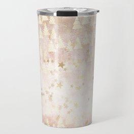 Abstract Rosegold Blush Glitter Mountain Dreamscape Pattern Travel Mug