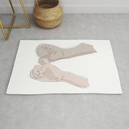 promettre-Pinky Swear line art MINIMAL ILLUSTRATION Rug