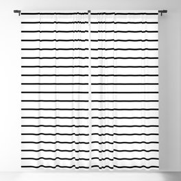 white lines, black and white stripes - striped design Blackout Curtain