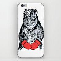 boxing iPhone & iPod Skins featuring Boxing Bear by JRSutton