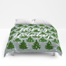 Green Sparkle Christmas Tree Farm Happy Holidays Comforters