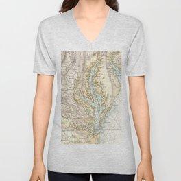 Vintage Map of The Chesapeake Bay(1778) 2 Unisex V-Neck