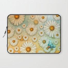 """""""Turquoise Moth &  Marguerites"""" Laptop Sleeve"""
