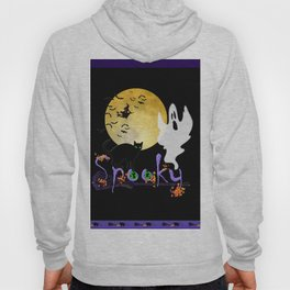 Spooky Halloween - Full Moon Witch Ghost Cats & Bats Hoody