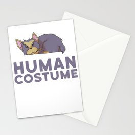 This Is My Human Costume I'm Really A Yorkie Funny Halloween Stationery Cards