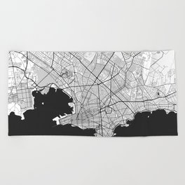 Montevideo Map Gray Beach Towel