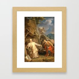 Louis Galloche - Saint Martin Sharing his Coat with a Beggar Framed Art Print