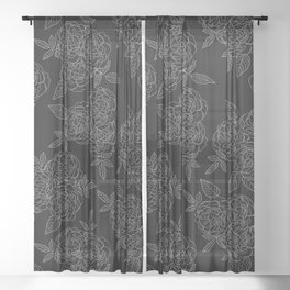 Rose Bouquets Black Background Sheer Curtain