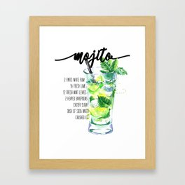 Mojito - Cocktail Watercolour - Typography Art - Calligraphy Recipe Framed Art Print