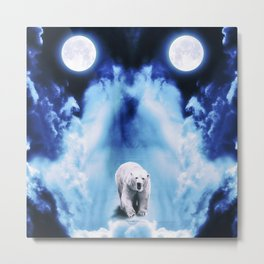 Psychedlic Space Polar Bear Metal Print