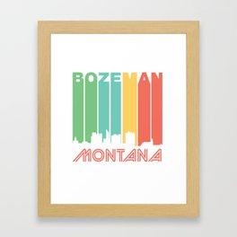 Retro 1970's Style Bozeman Montana Skyline T-Shirt Framed Art Print