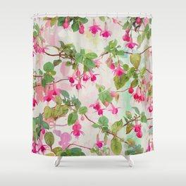Rainbow Fuchsia Floral Pattern Shower Curtain
