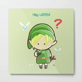 Hey Listen! Cute Link From Zelda Kawaii :) Metal Print