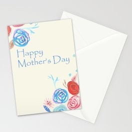 Watercolour Folk flowers Mother's Day card Stationery Cards