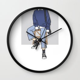 Blue Chair Outfit of the Day Art Wall Clock