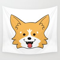 corgi Wall Tapestries featuring Corgi by Sugar and Spice Menagerie