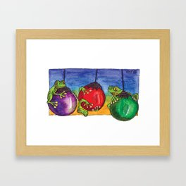 Christmas Frogs on Baubles Framed Art Print