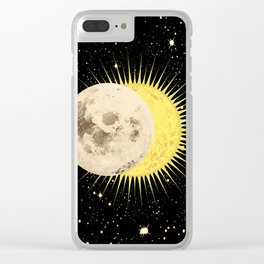 'Imminent Eclipse' Sun Moon & Stars Clear iPhone Case