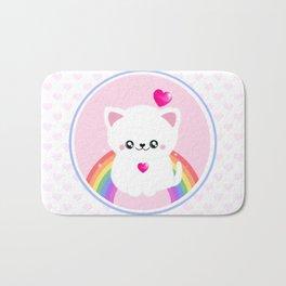 Super Cute Retro Rainbow Sparkle Kitty Bath Mat