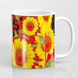 MODERN OPTICAL RED-BLACK ART SUNFLOWER FIELD Coffee Mug