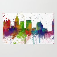 atlanta Area & Throw Rugs featuring Atlanta Skyline by Marlene Watson