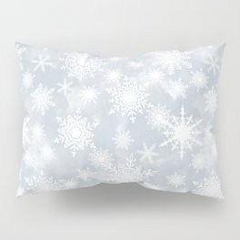 Snowflakes . White Lacy snowflakes on a light grey Pillow Sham