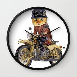 Cat riding motorcycle Wall Clock