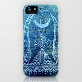 feathers in indigo crescent moon iPhone Case