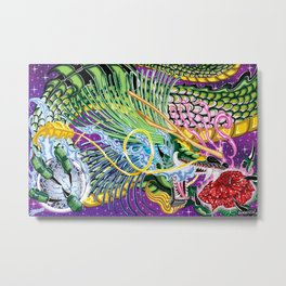 Dragon Of The Rose Metal Print
