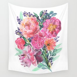 Peonies Bouquet Wall Tapestry