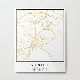 VENICE ITALY CITY STREET MAP ART Metal Print