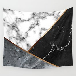 Elegant Silver Marble with Bronze Lining Wall Tapestry