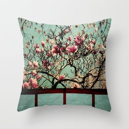 Pink Japanese Magnolia Tree in Flower Throw Pillow