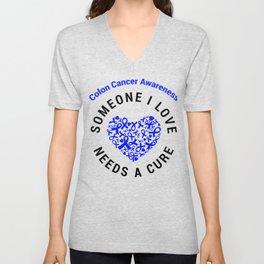 Colorectal Cancer Blue Ribbon Awareness Heart Support Cure design Unisex V-Neck