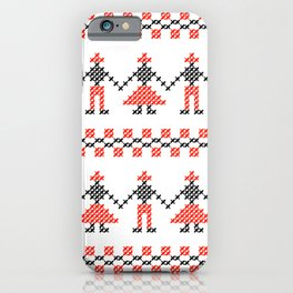 Traditional Romanian dancing people cross-stitch motif white iPhone Case