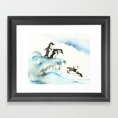 Jumping Penguins - Watercolor Framed Art Print