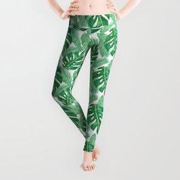 Tropical Leaf Pattern Leggings